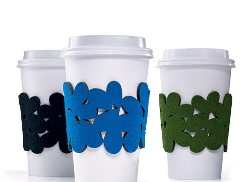 Trade wasteful cardboard for a reusable felt coffee cozy.Price: $25Shop: Megan Auman