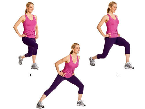 Step 1: Stand straight with feet and legs together, hands on hips. Lunge forward with left foot, then push back to standing.Step 2: Perform a side lunge by planting left foot out to your left side, then push back to standing.Step 3: Extend left leg behind you and lower yourself into a reverse lunge, then push back to standing.Repeat: Perform the drill with right leg; continue alternating legs for 1 minute.