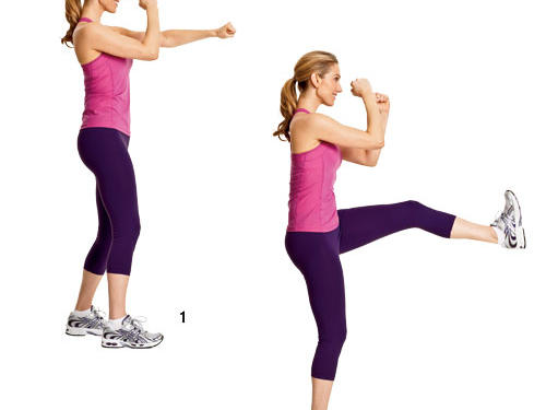 Step 1: Stand with feet about hip-width apart, right foot in front of left foot. Hold fisted hands in front of your face, palms facing each other. Quickly throw a punch in front of your body at chest level, pull back, then throw a right punch and pull back.Step 2: Next, kick left leg forward about waist-high, then lower back to floor. Jump and switch your stance—left foot in front of right foot—and perform again, this time throwing a right punch, a left punch, then kicking forward with right leg.Repeat: Alternate for 1 minute.