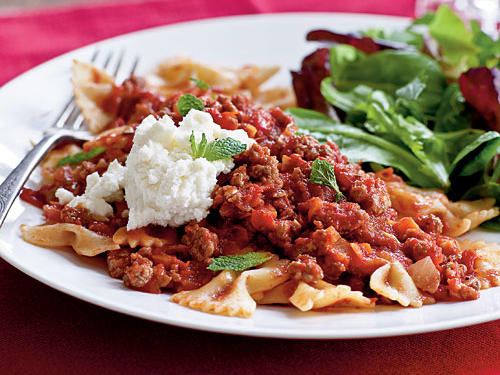 Healthy Dinner Recipes: Farfalle with Lamb Ragu, Ricotta, and Mint