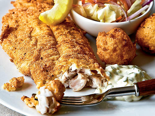 Fried Catfish with Hush Puppies and Tartar Sauce Recipes