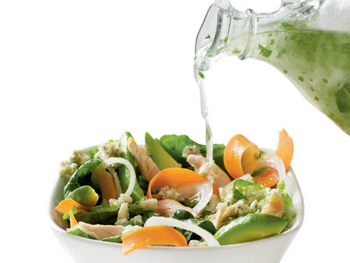 A lot of the fat-free and low-fat dressings out there are full of sugar and sodium and are completely deprived on flavor. A few splashes of a good, heart-healthy canola- or olive-oil based dressings can do wonders to that bed of greens. Try making your own with our Easy Herb Vinaigrette. Make a batch to keep in the refrigerator for up to 5 days.Read more: How to Make a Basic Vinaigrette