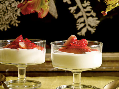 Low-Cal Lavender-Scented Strawberries with Honey Cream