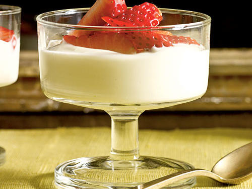 Lavender-Scented Strawberries with Honey Cream