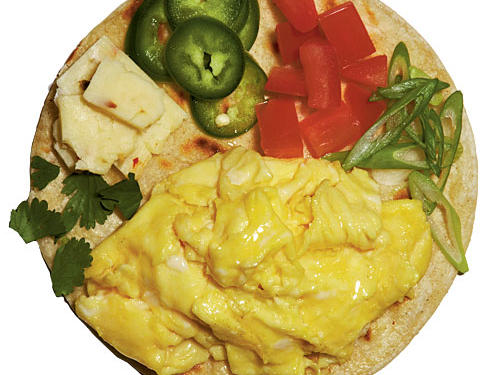 Add peppers, tomatoes, mushrooms, or onions to your eggs for a delicious omelet (every 1/2 cup is a serving), or pile the whole scramble on your favorite bread, tortilla, or bagel for a booster breakfast sandwich. Drink a 1/2 cup of 100% fruit juice with it for another fruit serving.View Recipe: Huevos Revueltos
