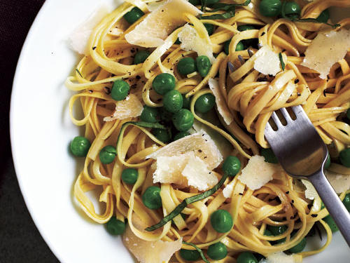 Pasta should be easy and delicious, like this entrée. Prep the peas, cheese, and basil while the pasta water heats. Serve with a green salad to round out the meal.