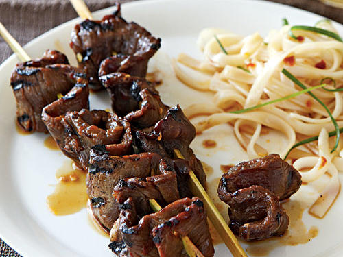 Healthy Korean-Style Beef Skewers with Rice Noodles Recipes