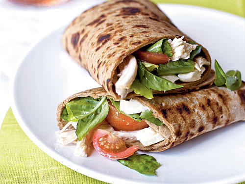 Caprese Wraps with Chicken have all the components of a Caprese salad with the added protein of shredded chicken breast. All wrapped up in a multigrain flatbread, this hearty wrap is just as good on the go as it is when served in your dining room. Pick up a rotisserie chicken to speed up dinner.
