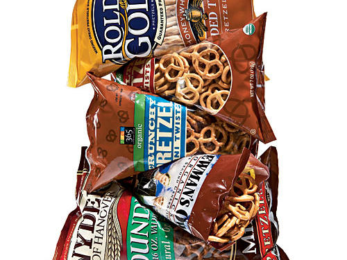 """Question:""""Are pretzels really a healthy snack?"""" —Karla S., via e-mailAnswer: Compared to a piece of fruit and handful of nuts, or cheese and whole-grain crackers, no. Compared to a trans-fat-filled, high-caloric snack cake with """"crème"""" filling and frosting, pretzels are nutritional manna, especially if you're at a vending machine, where pretzels may be the lesser of many evils. The biggest rub is that a 1-ounce serving of pretzels has 110 calories and 450 milligrams sodium (about one-fifth of your daily allotment!). Choose low-salt or unsalted multigrain and whole grain versions for the biggest nutrition boost.Find our Taste Test winners for the best pretzels."""
