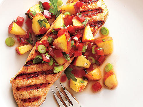 A fresh fruit salsa is a lovely accompaniment to grilled fish in the summer; try it also with striped bass or arctic char. Here, the season's juiciest peaches pair with fiery habanero pepper for a sweet-spicy flavor. Leave the peaches unpeeled for more color and texture.