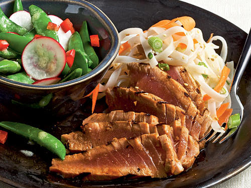 Healthy Dinner Recipe: Grilled Lime-Soy Tuna with Noodles