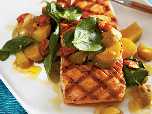 Grilled Salmon with Chorizo and Fingerlings