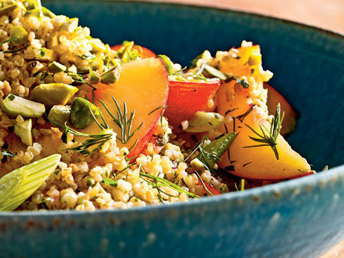 Great with grilled chicken, lamb, or salmon, this side-dish salad also packs well for a picnic. Almost any fruit would work well in place of nectarines–try apricots, peaches, or figs.