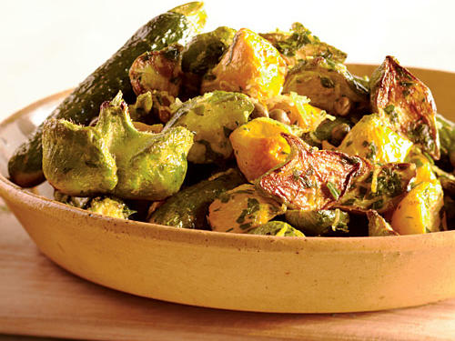 Roasted Summer Squashes with Caper Gremolata