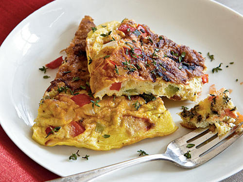 Fresh seasonal produce makes this Italian omelet shine. Serve with a simple salad and fruit for an easy breakfast or brunch.