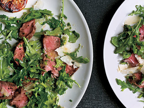 Griled Steak with Baby Arugula and Parmesan Salad