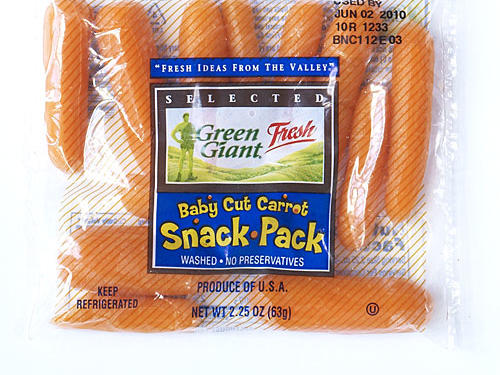 Single serve bags of baby carrots