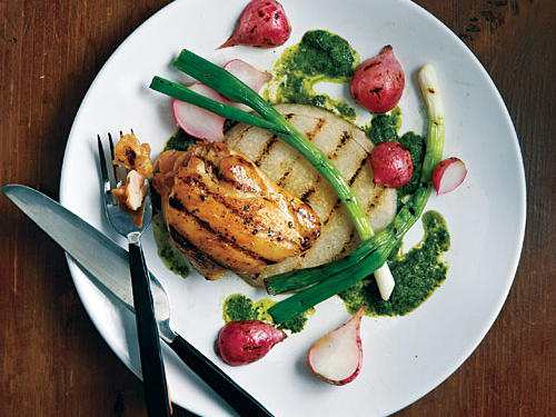 "Grilled Jicama, Radishes, Scallions, and Chicken with Asian-Style ""Chimichurri"""