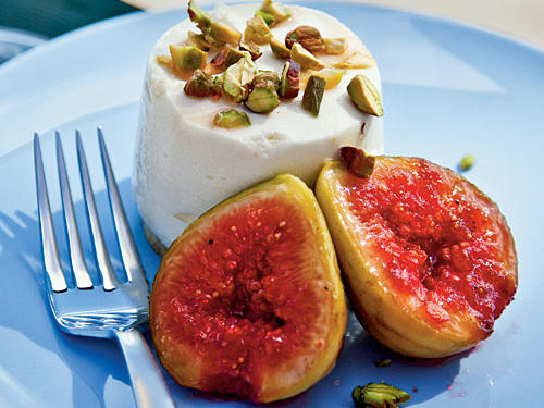 July: Sheep's-Milk Yogurt Cheesecakes with Grilled Figs and Pistachios