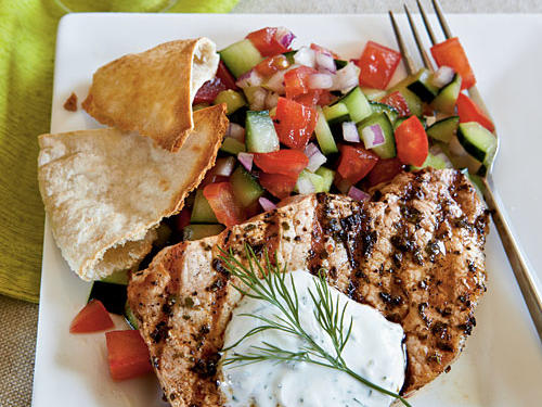 25 best budget recipes cooking light top rated budget recipes greek style pork chops forumfinder Choice Image