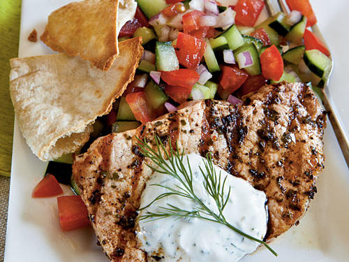 Make your own tzatziki sauce out of Greek-style yogurt, fresh dill, and red wine vinegar to accompany grilled pork chops. Serve with pita wedges: Cut two pita rounds in half, and cut each half into quarters and toast.