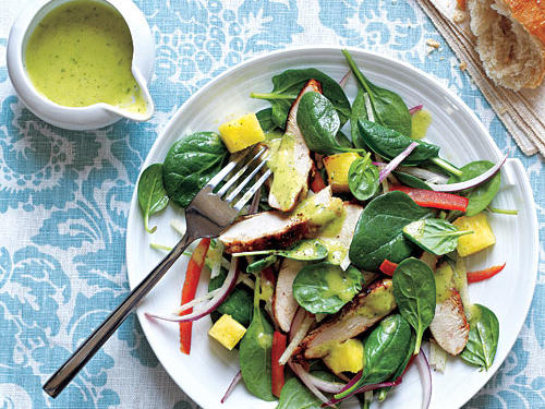 Grilled Chicken and Spinach Salad with Spicy Pineapple Dressing recipe