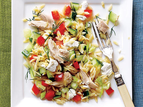 For a light and refreshing salad, try this recipe for Lemony Orzo-Veggie Salad with Chicken.