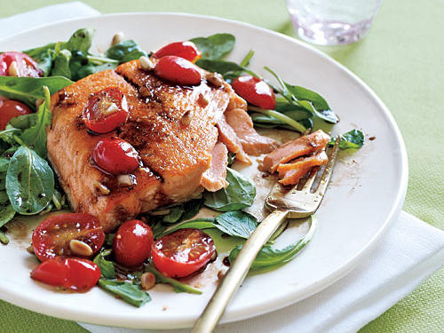 Sautéed Artic Char and Arugula Salad with Tomato Vinaigrette