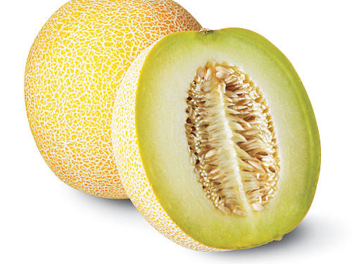 1. Crenshaw: Salmon-pink flesh yields a sweet, rich taste and slightly spicy aroma. These melons are large, weighing up to 10 pounds. Peak season: August through September.2. Galia (pictured): The light-green flesh inside this melon is sweeter than that of the American cantaloupe; it's often reserved for dessert. Peak season: May through August.3. Sprite:  This grapefruit-sized melon has sweet, crisp ivory flesh, the taste of which contains hints of watermelon, honeydew, and pear—but much sweeter. Peak season: June and July.4. Orange-Fleshed Honeydew: A luscious cross between cantaloupe and honeydew, with a slightly creamy flavor. Look for a smooth, whitish rind with a waxy texture. Peak season: May through August.