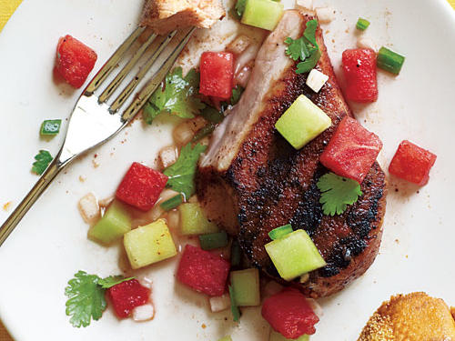 Healthy Dinner Recipe: Grilled Pork Chops with Two-Melon Salsa