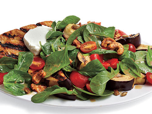 The nut mix adds crunch and heat, pleasant foils to creamy goat cheese and sweet bell pepper.