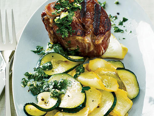 Grilled Lamb Chops with Roasted Summer Squash and Chimichurri Recipe