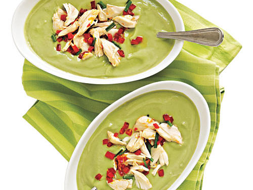 Gluten-Free Avocado-Buttermilk Soup with Crab Salad