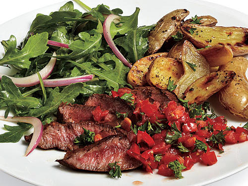 Opt for flank steak when preparing this recipe. If you don't have a mini chopper or blender, just dice the tomatoes and parsley by hand for a chunkier sauce.