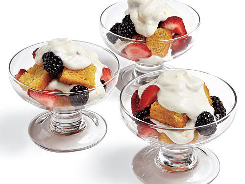 That delicious Citrus Shortcake makes another appearance, this time layered in a simple trifle. Any summer berries will work here, and you can substitute other fruit liqueurs for the Grand Marnier. Reserve remaining liqueur for Sunday morning lattes.