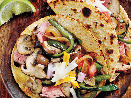 Wild Mushroom, Flank Steak, and Poblano Tacos Recipe