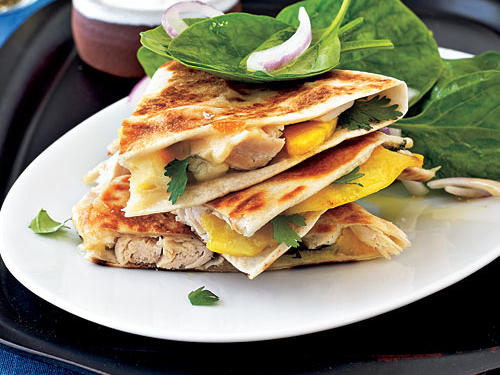 Healthy Dinner Recipes: Pepper Jack, Chicken, and Peach Quesadillas