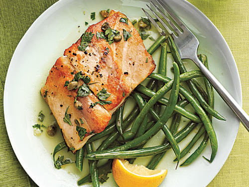 Sautéed Striped Bass with Lemon-Caper Sauce