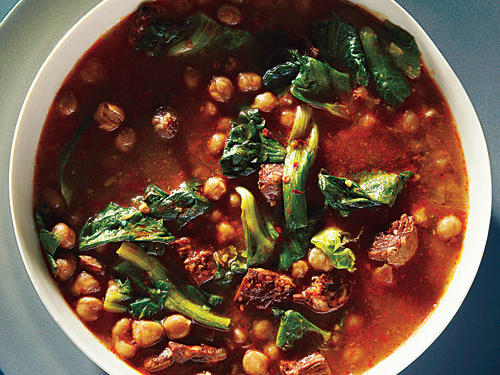 Dried chickpeas are typically soaked overnight and then simmered for up to two and a half hours to become tender. These, though, go into the pressure cooker dry and come out tender in just one hour! Use high-quality, cured Spanish chorizo (and not the fresh or raw Mexican version) for the best flavor and texture in this earthy, satisfying soup.