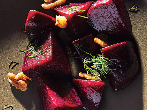 Beets are ready when they can be pierced with a fork without too much resistance. If they're not quite tender enough, put them back under pressure for a minute or two. Prep the dressing while the beets cook.
