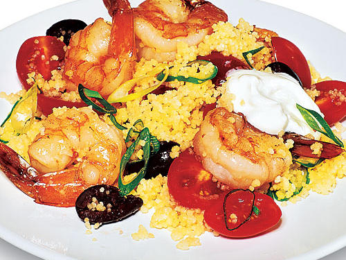 These wonderful Mediterranean ingredients combine with quick seafood to produce Greek Couscous with Shrimp. Yogurt adds a velvety texture.