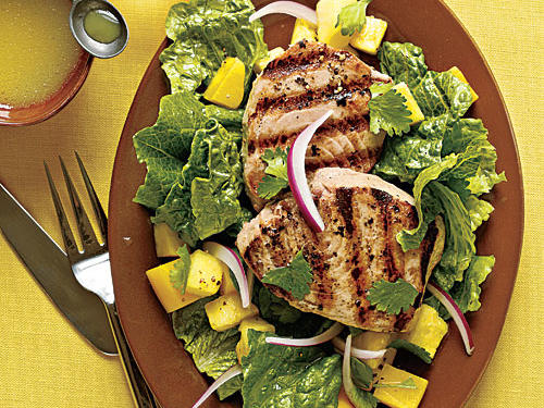 Grilled Yellowfin Tuna with Romaine and Tropical Fruit Recipes