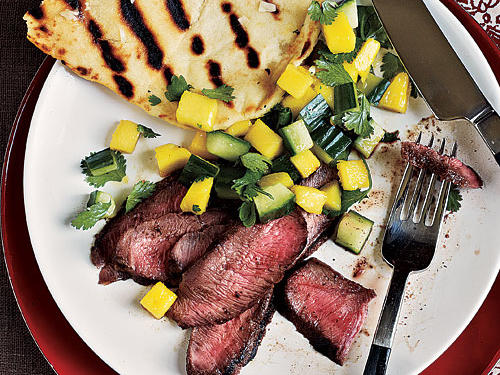 Healthy Dinner Recipes: Grilled Steaks with Fresh Mango Salsa