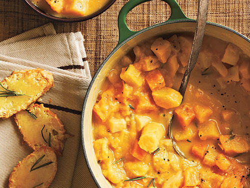 Creamy Root Vegetable Stew with Gruyere Crostini