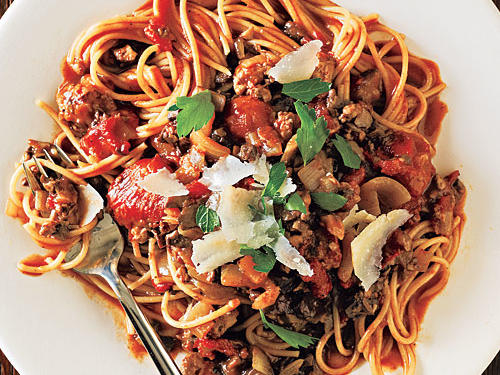 The mushrooms in this spaghetti dish are savory and earthy, creating a mouthwatering texture and taste in its own. Tip: For best results, don't cheat the clock and let the sauce simmer for the full 30 minutes allotted.