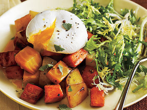 Sautéed yukon gold potatoes, sweet potatoes, and beets are topped with poached eggs for a meatless meal fit for brunch or dinner. To save time, you can purchase precooked, vacuum-packed beets at many markets in the produce section.