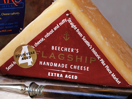 Beecher's 4-Year Aged Flagship Cheddar ($22/lb). Just as Oregon proved that fantastic French-style pinot noir could be made on the West Coast, Beecher's produces amazing cheddar character far from (but near the same latitude as) the English source. Rich, deep, dense, and grassy.