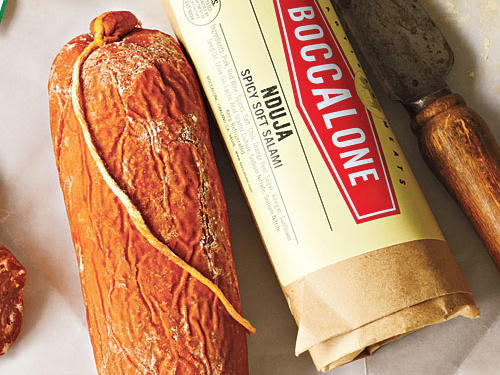 Boccalone Nduja ($24 for two). Remarkable salami paste from a San Fran venture that's less than 10 years old. Nduja (pronounced en-doo-ya) is a true find: a spreadable chorizo-like ambassador of intense, cured porky flavor. Bitter orange underlines spicy smokiness and fermented tang. A little adds a punch to soups and sauces.