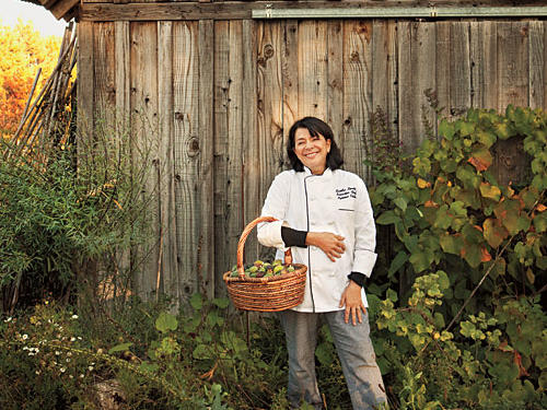 Lynmar Estate's Chef Sandra Simile with a haul of figs picked on site.