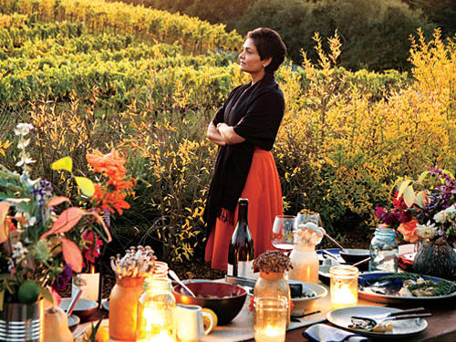 The final course is served as the sun sets to the west, throwing a warm glow over the table, the conversation covers a range of topics—family, politics, business, and the weather. It's a beautiful meal with a casual feel, perfectly paced for a long, lingering California evening.View Recipe: Honey-Baked Black Mission Figs with Orange and Ginger